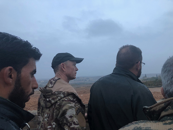 With SDF troops looking at Turkish-supported FSA positions who attacked here across the Sajur River north of Manbij.