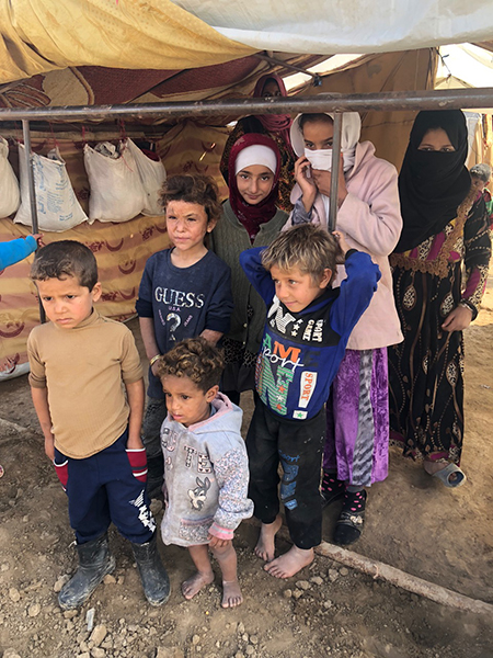 A displaced family from Hajin.