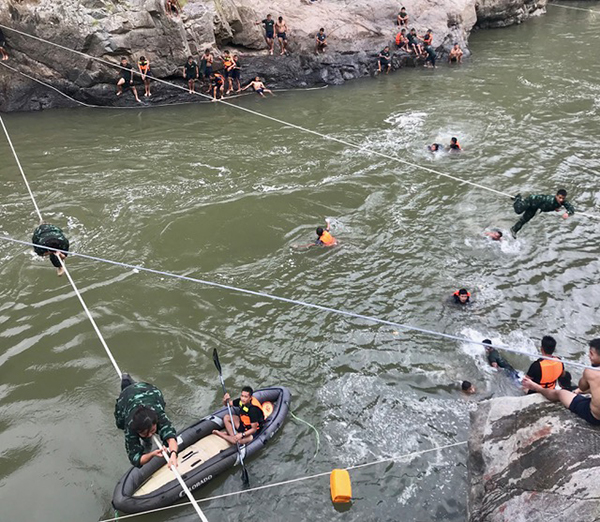 The rangers learn to swim, rappelling, and rope bridge crossing.
