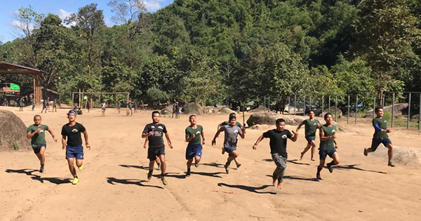 Rangers compete during the sports day competition.