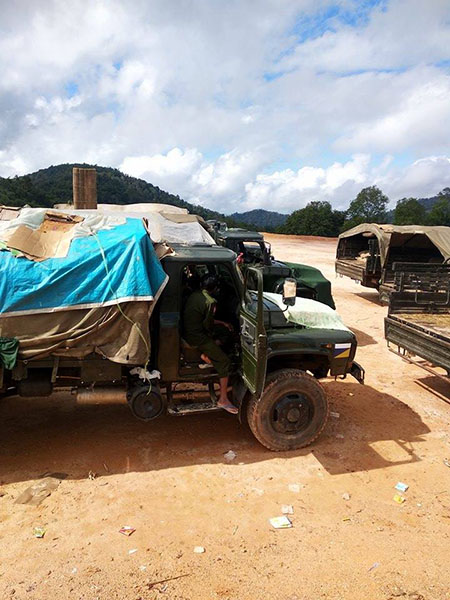 Burma Army transport trucks in Karen State, Burma. Jan. 2019.