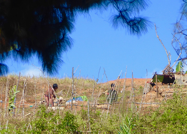Burma Army soldiers at their camp at Ler Mu Plaw from where many attacks come.
