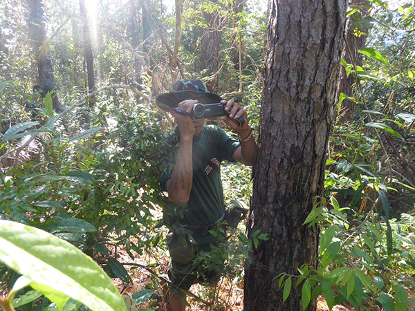 A Ranger filming a Burma Army camp from where attacks came.