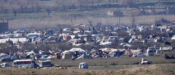 ISIS tent city where they are keeping people as human shields in Baghuz, Syria.