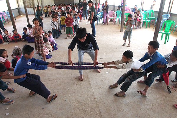 A game of tug-of-war during a GLC program.