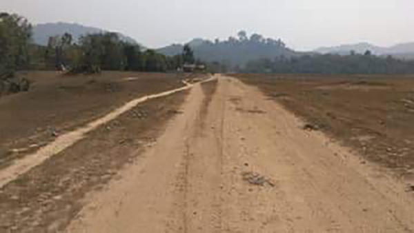 The road under construction by the Burma Army.