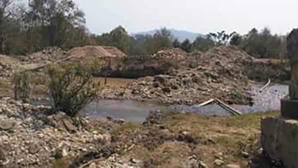 The area where the bridge will span.