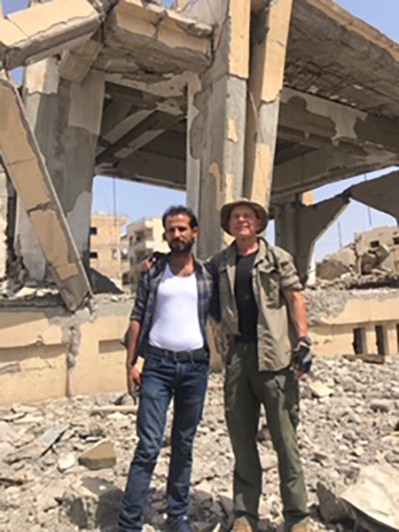 With William in the ruins of the Raqqa church