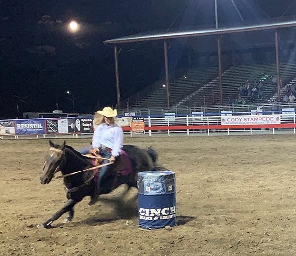 Sahale barrel racing at the Cody rodeo.