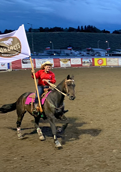Both Sahale (above) and Suu (below) got to ride as flag girls - an honor and show of their skill!
