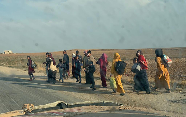 People fleeing the conflict on Oct. 26.