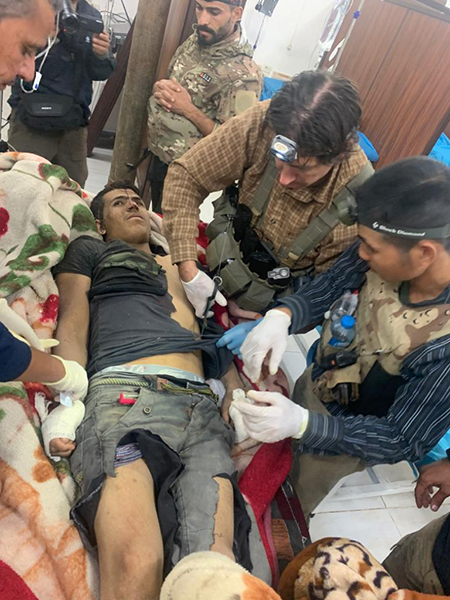 One of the wounded men being treated by our medics.