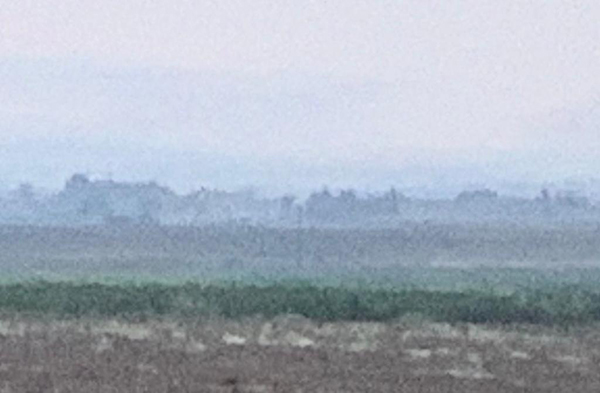 Faint smoke visible behind us, towards Tel Tamir, this morning where there were artillery attacks (over 20) and machine gun fire.