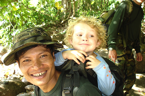 Monkey, one of our earliest Rangers, carrying Suu during a Burma mission.