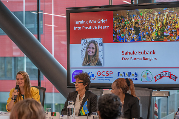 """Sahale speaking during the """"Turning War Grief into Positive Peace"""" session. Photo: T.A.P.S."""