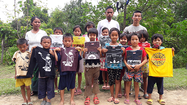 Shirts distributed to Chin villagers.