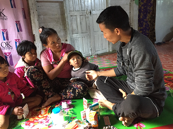 Rangers set-up a clinic to distribute medicine to villagers.