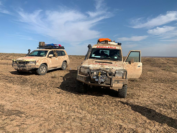 Our vehicles at Kasmia Village, four kilometers northeast of Tel Tamir, right before the strike that killed Zau Seng and wounded Mohammad and Jason on 3 Nov. 2019.
