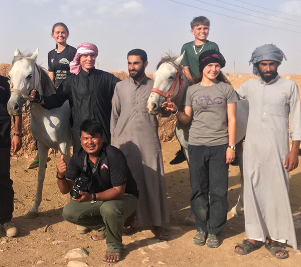 Zau Seng pictured with Dave, Sahale, Suu, and Peter Eubank and new friends in the Middle East