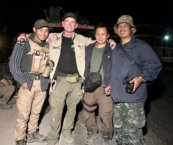 Zau Seng, at far right, with Joseph, Dave, and David after successful rescues this week in Syria.