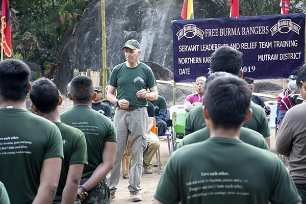 Congressman Abraham addressing the rangers at graduation