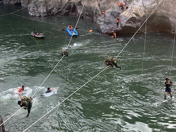 Rangers testing their new swimming and river-crossing skills