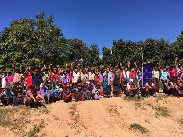 On Nov. 18, villagers from five village tracts came together to post signs and protest the construction.