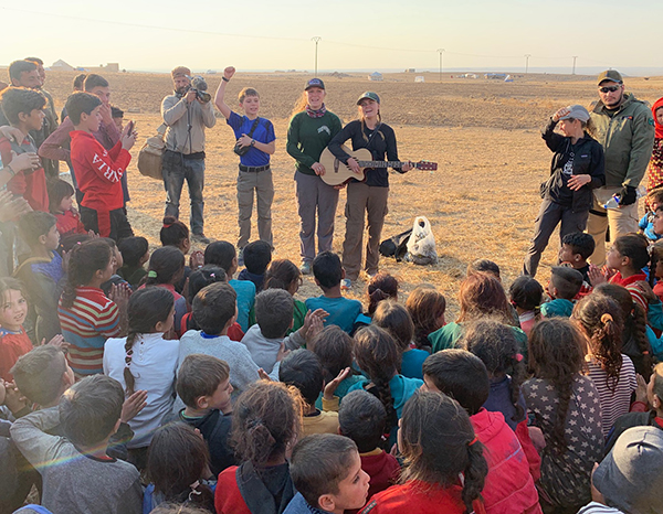 The team leads a Good Life Club for displace families in the desert.