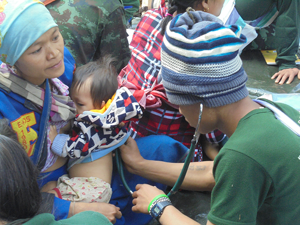 Providing medical care to local villagers