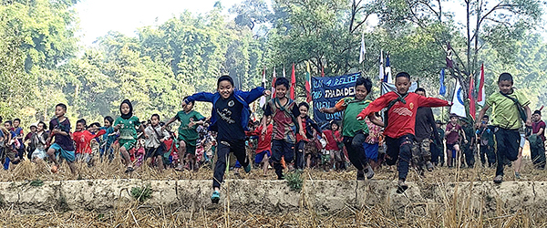 Running through rice paddies for the Run 4 Relief