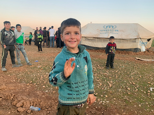 On Feb. 7, before the storm, a boy from Idlib welcomed us as we arrived to help.