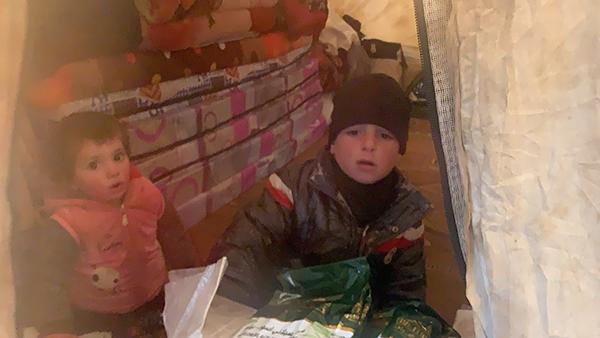 Children from Idlib, now in the Manbij camp.
