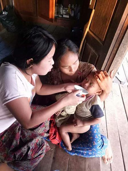 Assisting a sick child