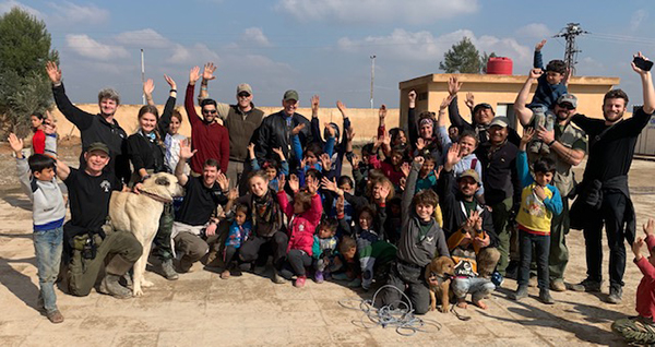 With our team and some children who fled the Turkish/ FSA invasion