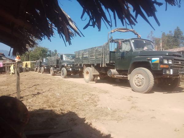 Burma Army supply trucks