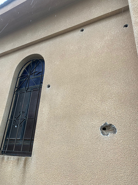 Church damaged by Turkish machine-gun fire
