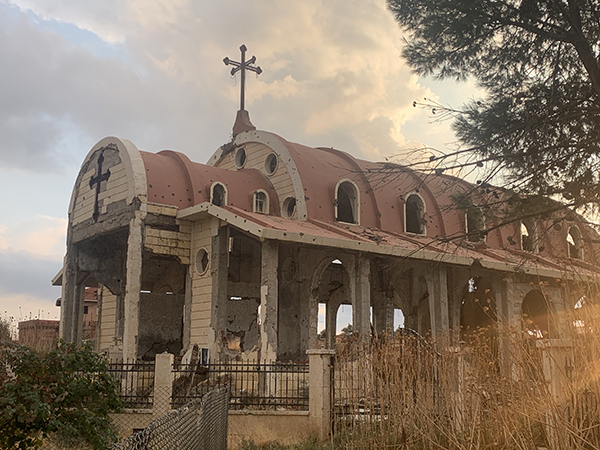 A church near Tel Tamir that was destroyed by ISIS.