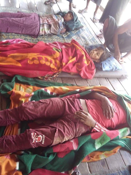 Three of the victims from the attack in Arakan State