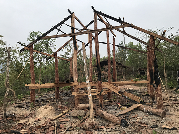 The burned down KNLA camp.