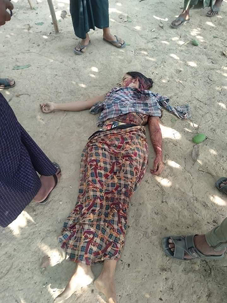 One woman was killed in the attacks in Arakan State