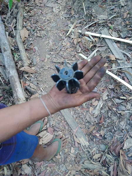 A mortar fired by the Burma Army into Karen civilian areas.