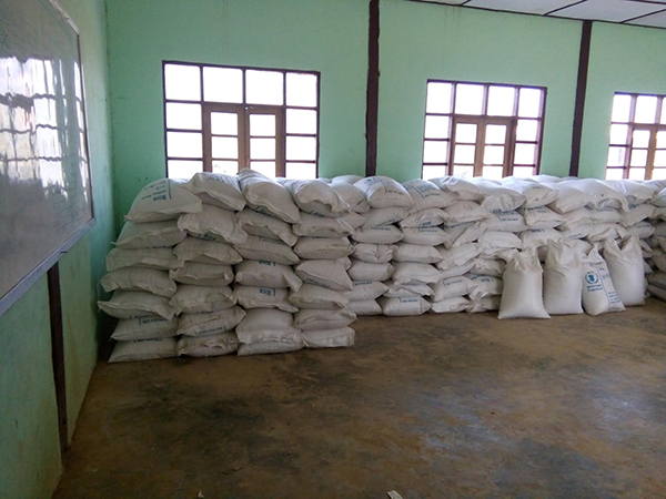 Sacks of rice waiting to be distributed.
