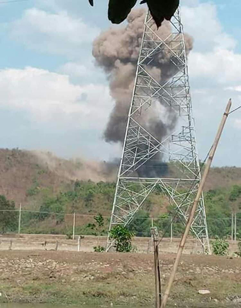 The impact of a Burma Army airstrike in Chin State.