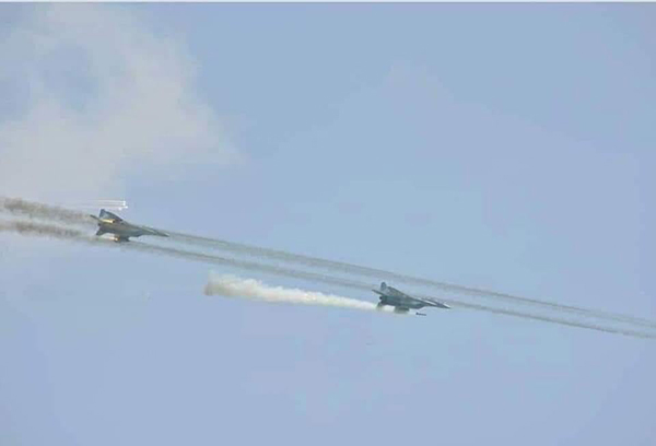 Burma Army fighter jets firing into Chin State, Burma.
