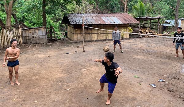 Playing takraw (kick volleyball) at Tah U Wah Camp