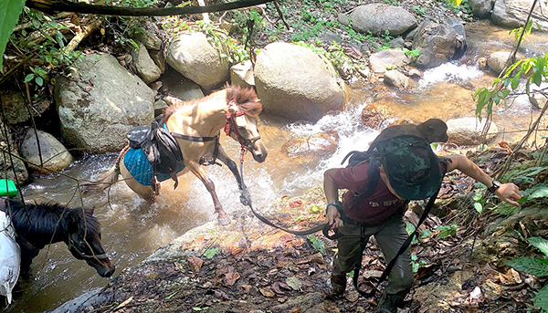 Navigating a creek crossing to deliver supplies in Karen State.
