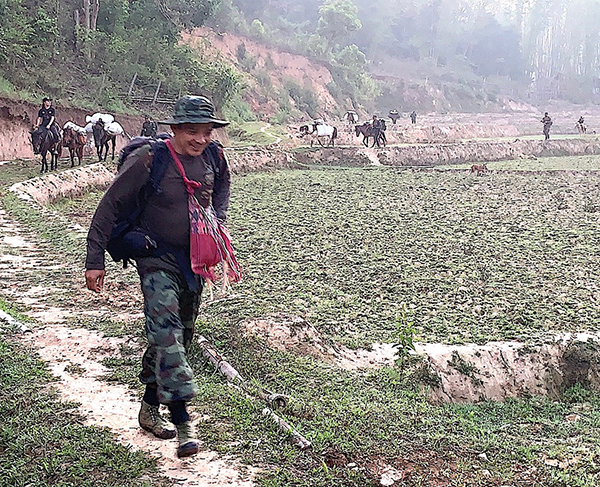 Relief supplies travel via horses and mule to help in Papun District, northern Karen State.