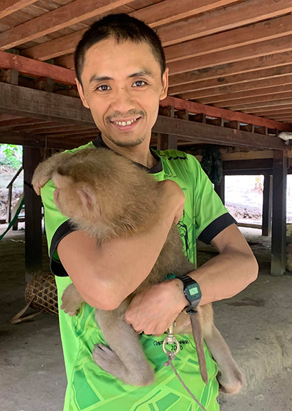 Toh, JSMK's Medical Director with Kid the Monkey