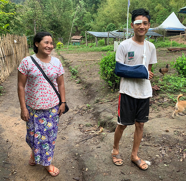 The motorbike accident patient with his mother