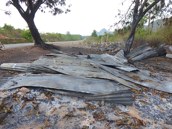 A COVID-19 Karen Health screening point burned down by Burma Army on May 6 at War Tho Ko Village.